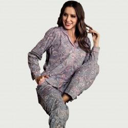 Pijama chaqueta tras algodón 100%, Harsa