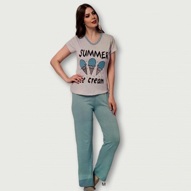 Pijama barato de primavera para mujer, con manga corta pantalón largo 100% algodón modelo Ice cream
