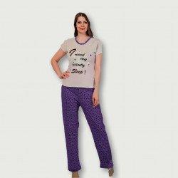 Pijama barato de primavera para mujer, con manga corta pantalón largo 100% algodón modelo Beauty