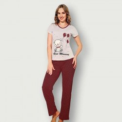 Pijama barato de primavera para mujer, con manga corta pantalón largo 100% algodón modelo Good morning