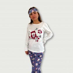 Pijama algodón estampado camisa color blanca y pantalón Azul, Buco