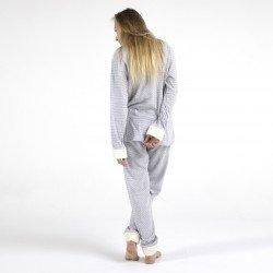 Pijama afelpado limon claro bordado, vista posterior