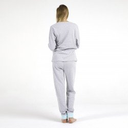 Pijama afelpado celeste bordado, vista posterior