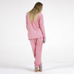 Pijama afelpado rosa bordado, vista posteror