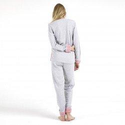 Pijama afelpado rosa bordado, vista posterior