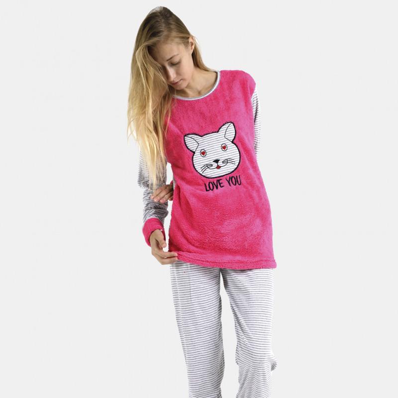 Pijama afelpado fucsia bordado