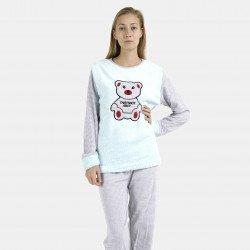 Pijama afelpado celeste bordado
