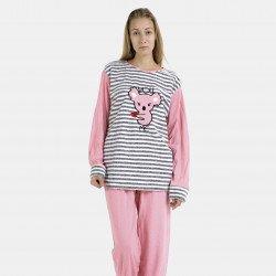 Pijama afelpado rosa bordado
