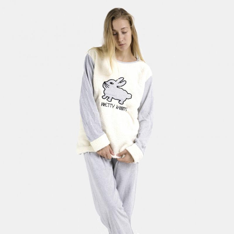 Pijama afelpado limon claro bordado