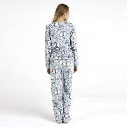 Pijama polar azul bordado, parte posterior