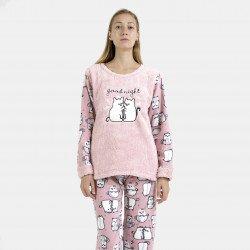 Pijama polar rosa bordado