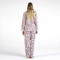 Pijama polar rosa bordado, vista posterior