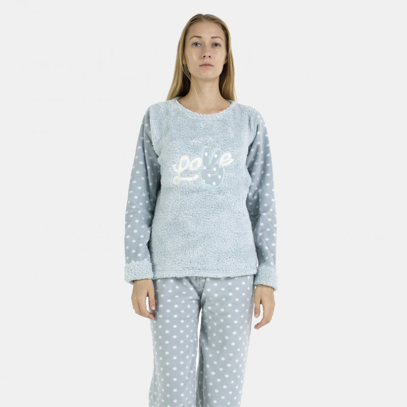 Pijama polar azul bordado