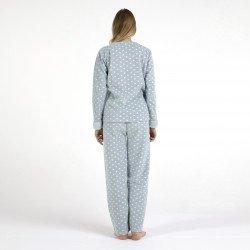 Pijama polar azul bordado, vista posterior