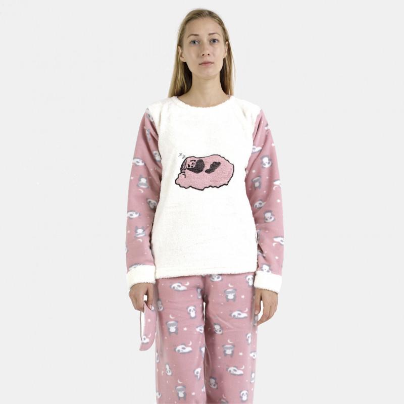 Pijama polar rosa y blanco bordado