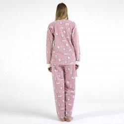 Pijama polar rosa y blanco bordado, vista posterior