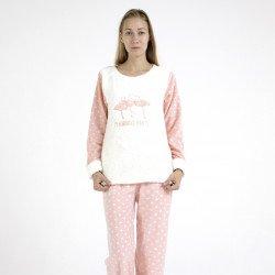 Pijama polar blanco y rosa bordado