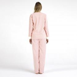 Pijama polar blanco y rosa bordado, vista posterior
