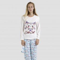 Pijama algodón estampado camisa color crudo pantalón azul