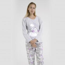 Pijama algodón estampado camisa y pantalón gris