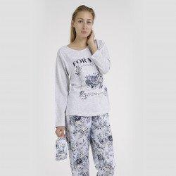 Pijama algodón estampado camisa y pantalón gris, For You