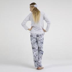 Pijama algodón estampado camisa y pantalón gris, For You, vista posterior