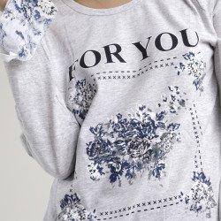 Pijama algodón estampado camisa y pantalón gris, For You, detalle del dibujo