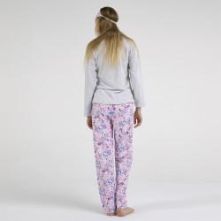 Pijama algodón estampado camisa gris y pantalón rosa, mackenzie, vista posterior
