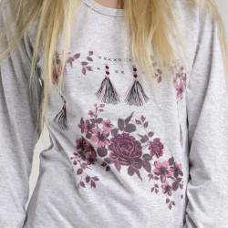 Pijama algodón estampado camisa gris y pantalón rosa, mackenzie, detalle del dibujo