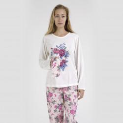Pijama algodón estampado camisa color curdo y pantalón rosa, Lovely Dreams