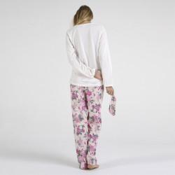 Pijama algodón estampado camisa color curdo y pantalón rosa, Lovely Dreams, vista posterior
