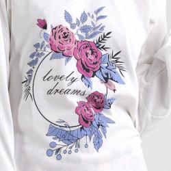 Pijama algodón estampado camisa color curdo y pantalón rosa, Lovely Dreams, detalle del dibujo