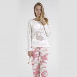 Pijama algodón estampado camisa color curdo y pantalón rosa, Dino