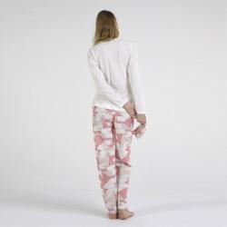 Pijama algodón estampado camisa color curdo y pantalón rosa, Dino, vista posterior
