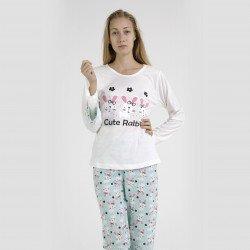 Pijama algodón estampado camisa color blanca y pantalón azul, Cute Rabbit