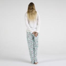 Pijama algodón estampado camisa color blanca y pantalón azul, Cute Rabbit, vista posterior