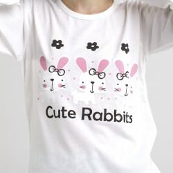 Pijama algodón estampado camisa color blanca y pantalón azul, Cute Rabbit, detalle del dibujo