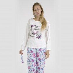 Pijama algodón estampado camisa color blanca y pantalón rosa, Miles