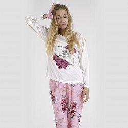Pijama algodón estampado camisa color blanca y pantalón rosa, Floral Design