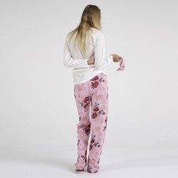 Pijama algodón estampado camisa color blanca y pantalón rosa, Floral Design, vista posterior
