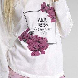 Pijama algodón estampado camisa color blanca y pantalón rosa, Floral Design, detalle del dibujo