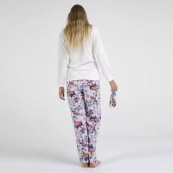 Pijama algodón estampado camisa color blanca y pantalón rosa, Moon Flower, vista posterior