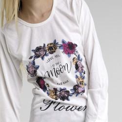 Pijama algodón estampado camisa color blanca y pantalón rosa, Moon Flower, detalle del dibujo