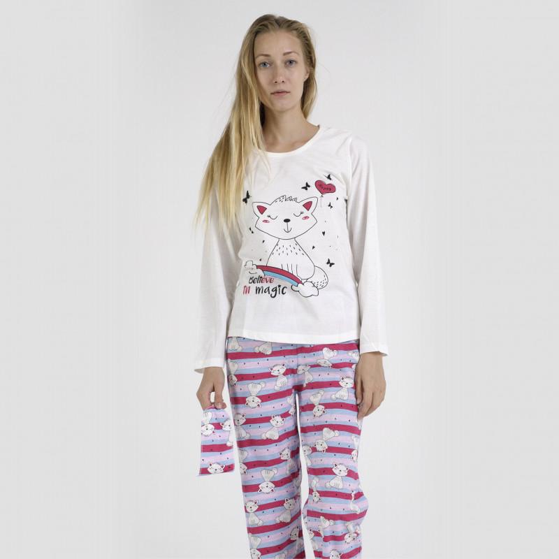 Pijama algodón estampado camisa color blanca y pantalón rosa, con rayas horizontales, Believe