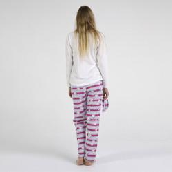 Pijama algodón estampado camisa color blanca y pantalón rosa, con rayas horizontales, Believe, vista posterior