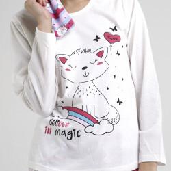 Pijama algodón estampado camisa color blanca y pantalón rosa, con rayas horizontales, Believe, detalle del dibujo