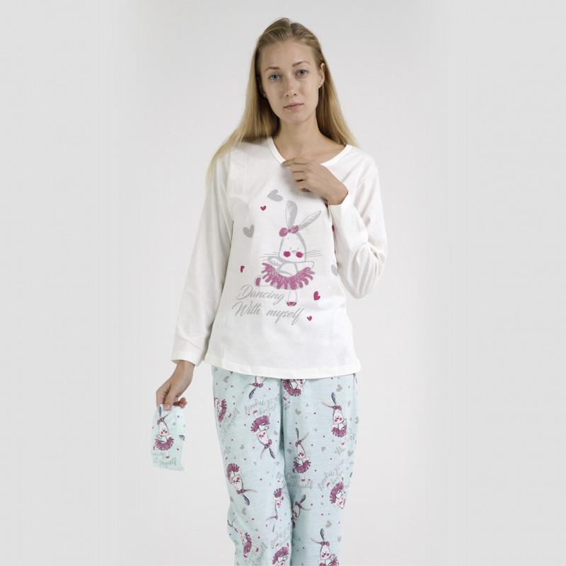 Pijama algodón estampado camisa color blanca y pantalón azul, Dancing With