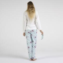 Pijama algodón estampado camisa color blanca y pantalón azul, Dancing With, vista posterior