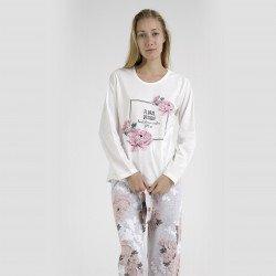 Pijama algodón estampado camisa color blanca y pantalón rosa, Flor Design Rosa