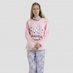 Pijama algodón estampado camisa color rosa y pantalón azul, Beautiful Girl Rosa
